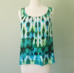 Dana Buchman blue & green printed tank top small